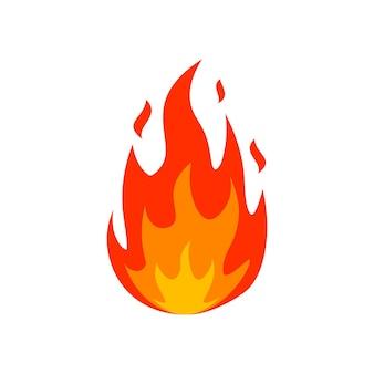 Dessin animé feu flamme icône émoticône allumé feu silhouette signe brûler emblème de boule de feu