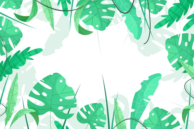 Dessin animé, feuilles tropicales, été, fond