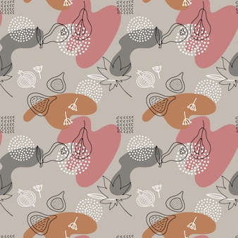Dessin animé fig, paear, points seamless pattern dans le style d'art en ligne avec des taches de couleur. formes dessinées à la main liquide abstraite.