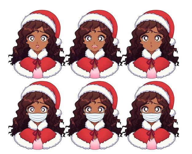Dessin animé fille africaine américaine portant costume de noël et masque médical