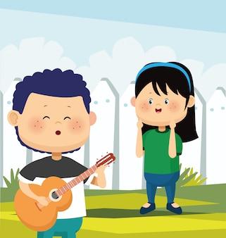 Dessin animé fille heureuse et garçon jouant de la guitare et chantant sur une clôture blanche