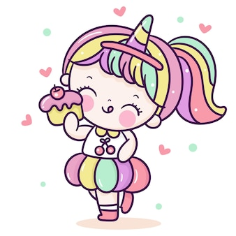 Dessin animé de fille mignonne porter un déguisement de corne de licorne style kawaii