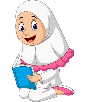 Dessin animé fille musulmane lisant un livre
