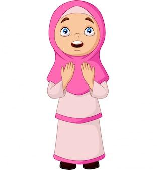 Dessin animé fille musulmane priant pour allah