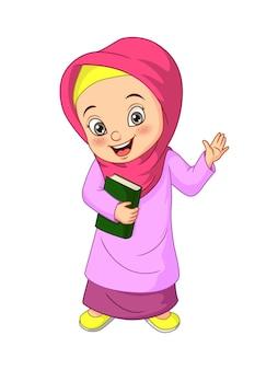 Dessin animé fille musulmane tenant le livre du coran