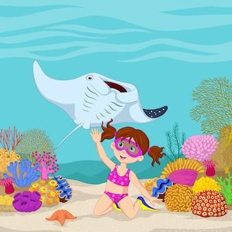 Dessin animé fillette plongeant dans la mer tropicale sous-marine
