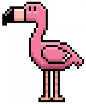 Dessin animé flamingo pixel design