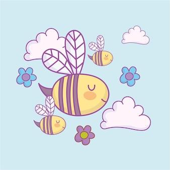 Dessin animé de fleurs mignonnes abeilles volantes
