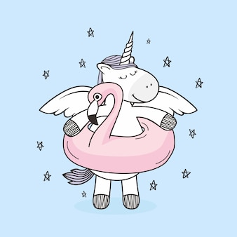 Dessin animé de floaties de flamingo doodle unicorn