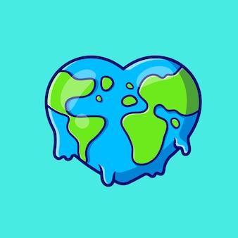 Dessin animé fondu d'amour de la terre