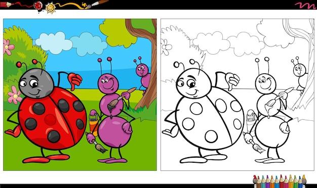 Dessin animé, fourmi et coccinelle, insectes, livre coloration, page