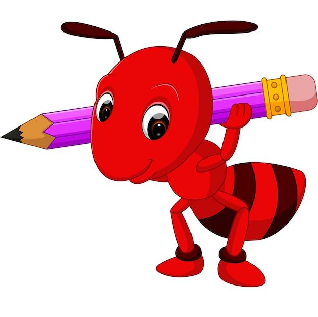 Dessin animé fourmi rouge tenant un crayon