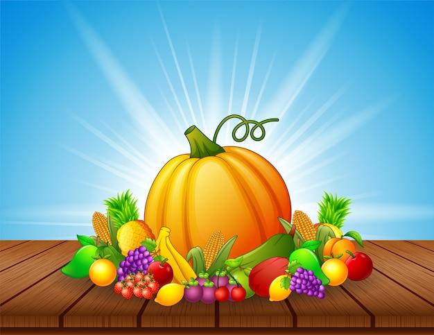 Dessin animé fruits et légumes sur la table en bois