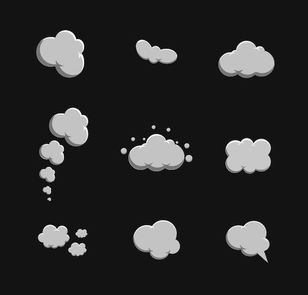 Dessin animé de fumée set vector. bulle de fumée