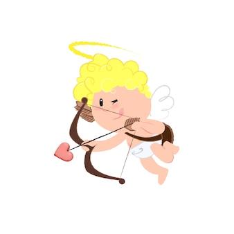 Dessin animé gai cupidon faisant du tir à l'arc