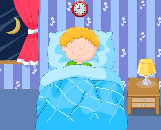 Dessin animé, garçon, dormir