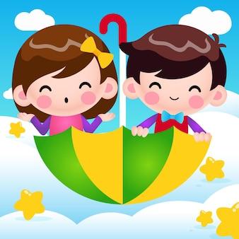 Dessin animé garçon et fille équitation parapluie volant