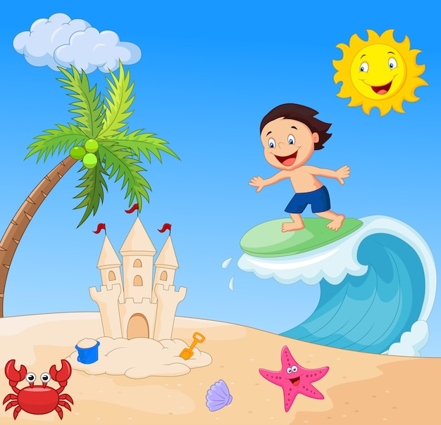 Dessin animé garçon heureux surf