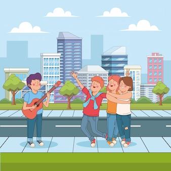 Dessin animé garçon jouant de la guitare pour ses amis heureux dans la rue