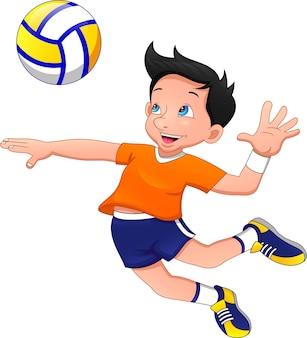 Dessin animé, garçon, jouer volleyball