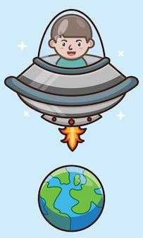 Dessin animé garçon mignon équitation vaisseau extraterrestre à la conception de vecteur de l'espace