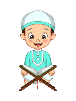 Dessin animé garçon musulman lisant le coran