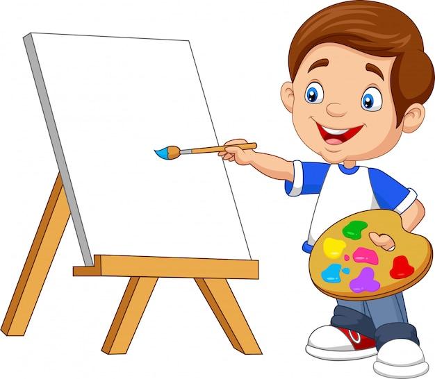 Dessin animé garçon peinture