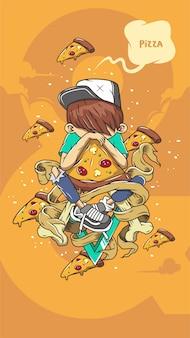 Dessin animé de garçon de pizza pour tous les médias