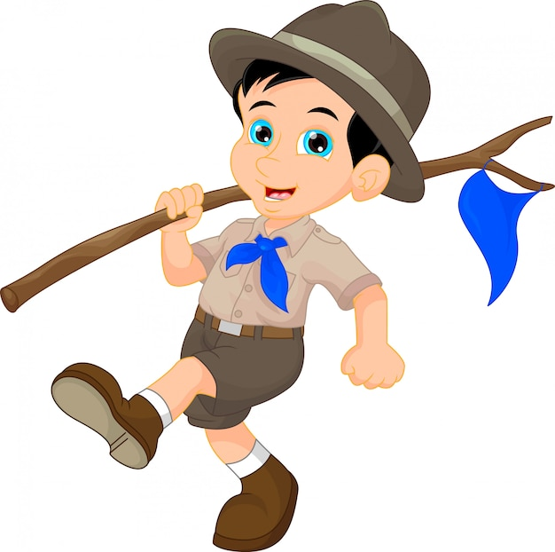 Dessin animé garçon scout tenant le drapeau bleu