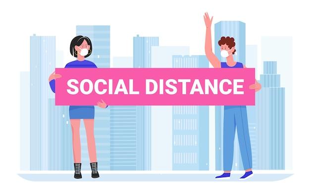 Dessin animé, gens, distance, concept