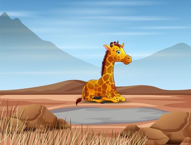 Dessin animé girafe sécheresse en terre sèche