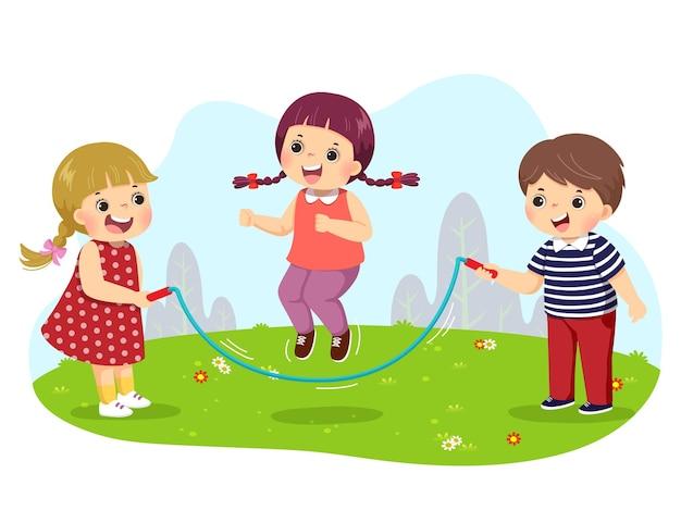 Dessin animé, de, gosses, sauter corde, dans parc