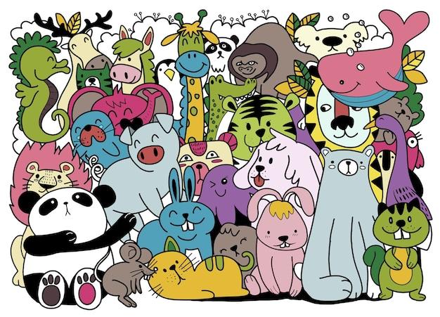 Dessin animé grand ensemble d'animaux mignons de griffonnage. parfait pour la chambre d'enfants de livre de bébé d'anniversaire de carte postale, illustration pour livre de coloriage, chacun sur un calque séparé.