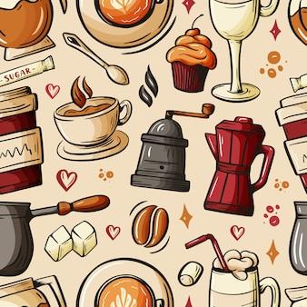 Dessin animé gribouillis dessinés à la main sur le thème du café, modèle sans couture de thème café.