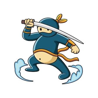 Dessin animé gros ninja se prépare à l'attaque