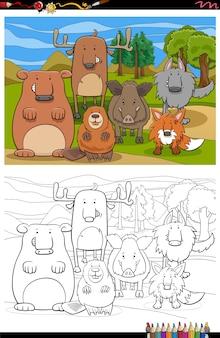 Dessin animé, groupe, animaux sauvages, livre coloration, page