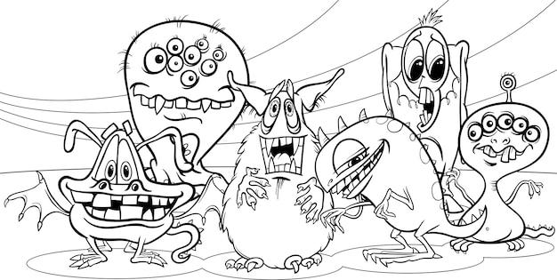 Dessin animé groupe monstres page de coloriage