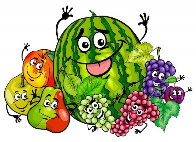 Dessin animé de groupe de personnages drôles de fruits
