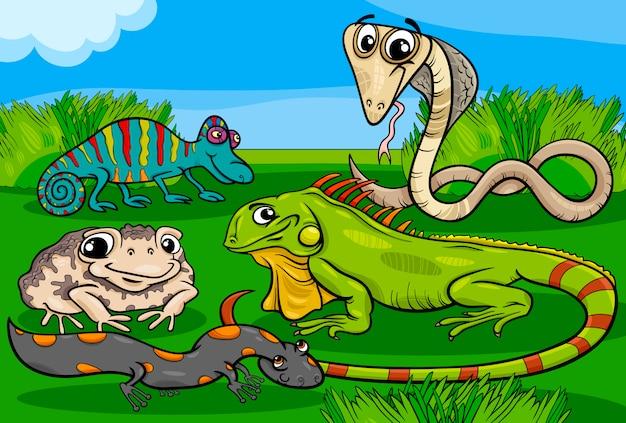 Dessin animé de groupe de reptiles et amphibiens