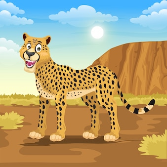 Dessin animé de guépard dans la savane