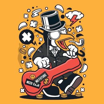 Dessin animé guitare pingouin