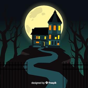 Dessin animé halloween hanté maison
