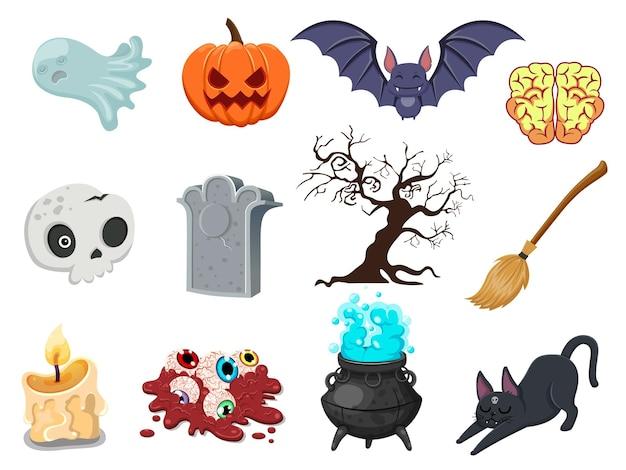 Dessin animé halloween icon set vector. citrouille, fantôme, cerveau, chauve-souris, crâne, pierre tombale, arbre, bougie, balai, globe oculaire, chat, chaudron de sorcière. illustration vectorielle