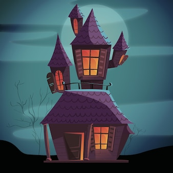 Dessin animé, halloween, maison