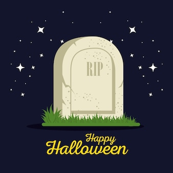 Dessin animé halloween de pierre tombale