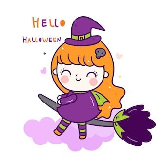 Dessin animé halloween de sorcière mignonne