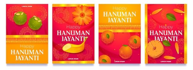 Dessin animé hanuman jayanti collection d'histoires instagram
