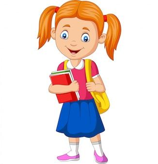 Dessin animé heureuse écolière portant livre et sac à dos