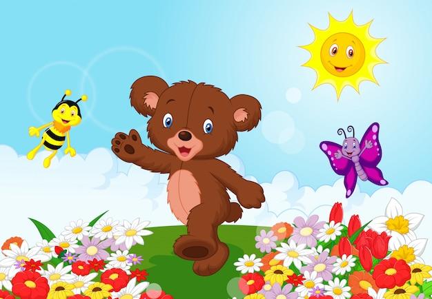 Dessin animé heureux bébé ours