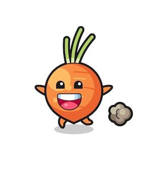Le dessin animé heureux de carotte avec pose en cours d'exécution, design de style mignon pour t-shirt, autocollant, élément de logo